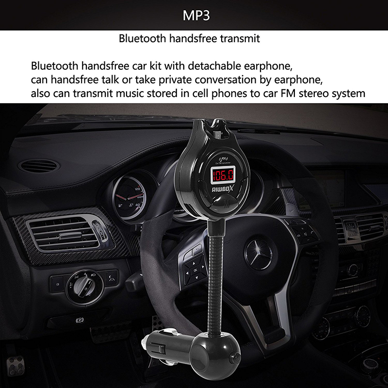 Riwbox™ A9 FM Bluetooth Transmitter Radio Car Kit