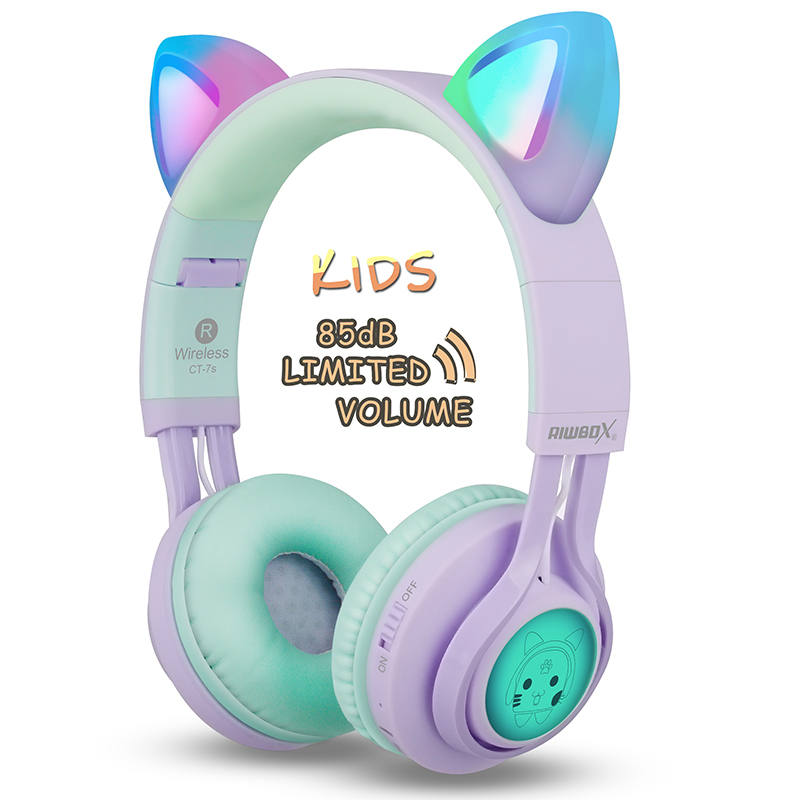 Riwbox CT-7 Cat Ear Bluetooth Headphones with LED for Kids