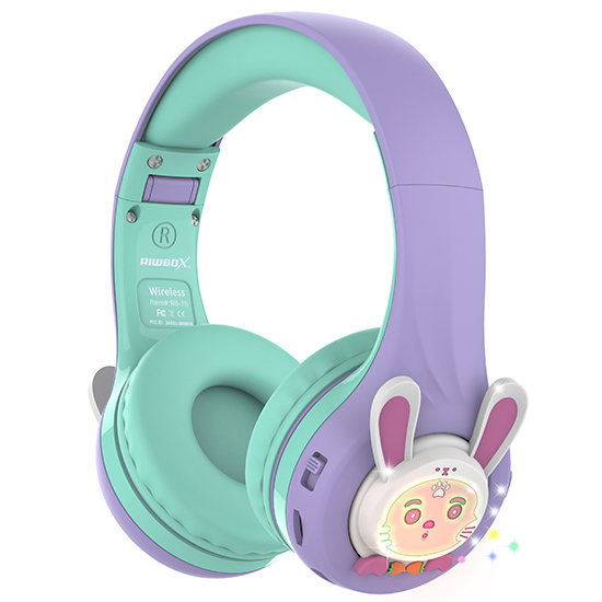 Riwbox Rabbit RB-7S Bluetooth Headphones with LED for Kids