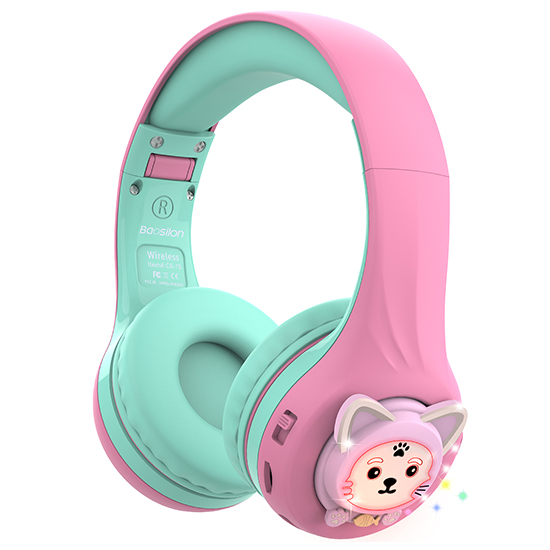 Riwbox Baosilon CB-7S Cat Bluetooth Headphones with LED for Kids