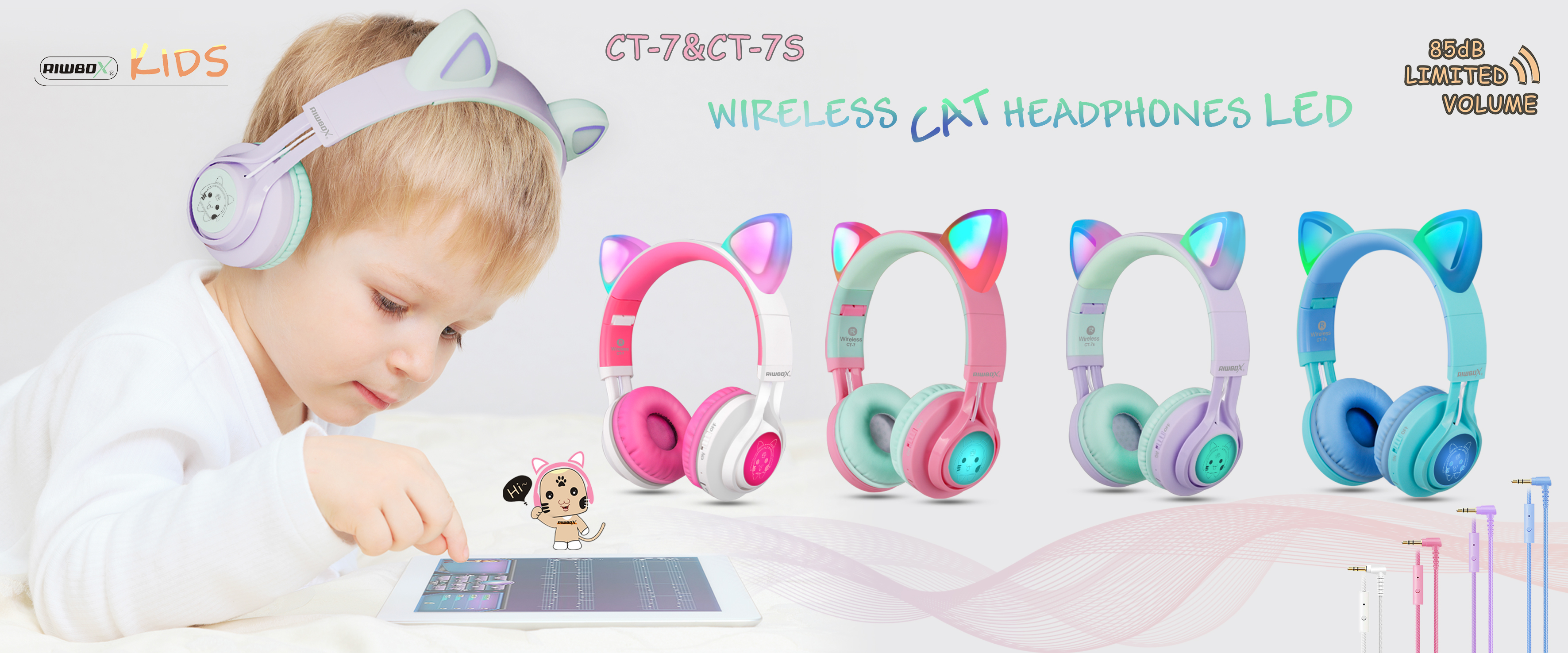 Riwbox Cat Ear Bluetooth Headphones CT